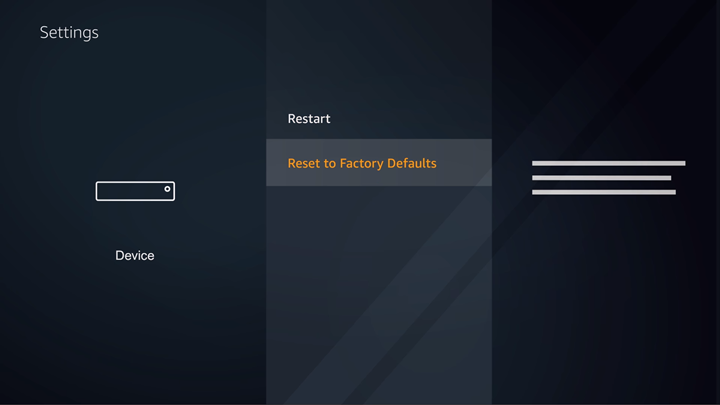 FireTV device settings screen with Reset to factory defaults option highlighted.