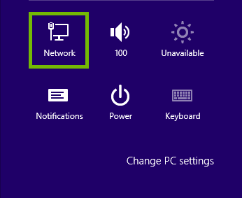 Settings with Network highlighted.
