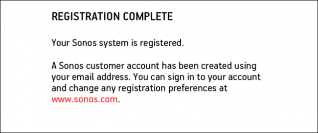 System registration completion screen.