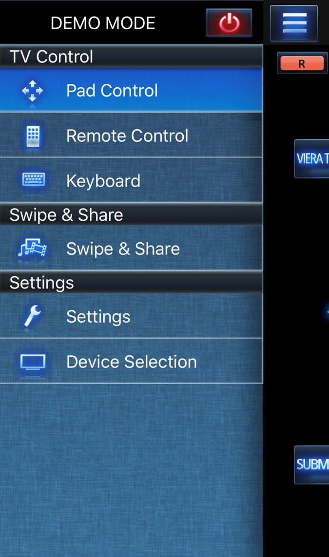 Panasonic TV Remote 2 app controls screen.