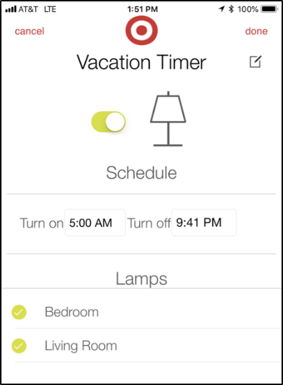 Vacation timer settings. Screenshot.