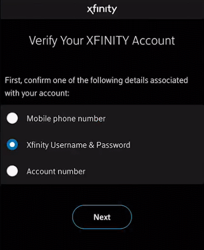 Account verification screen for internet service activation in Orbi app.