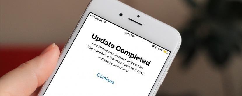 iPhone displaying a successful update screen.