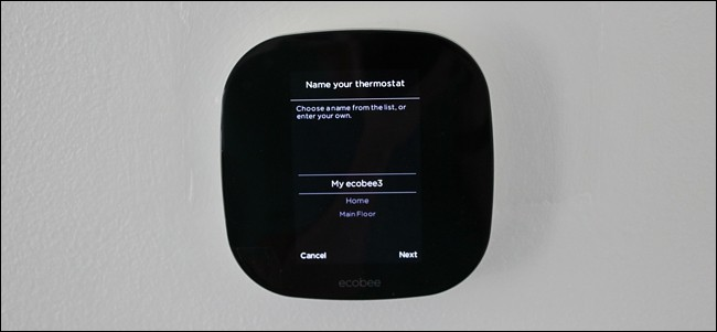Name entry screen in thermostat setup.