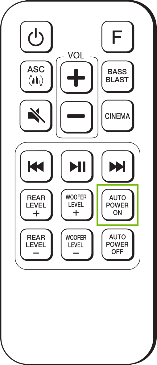 LG SJ4Y remote with auto power on highlighted. Diagram.