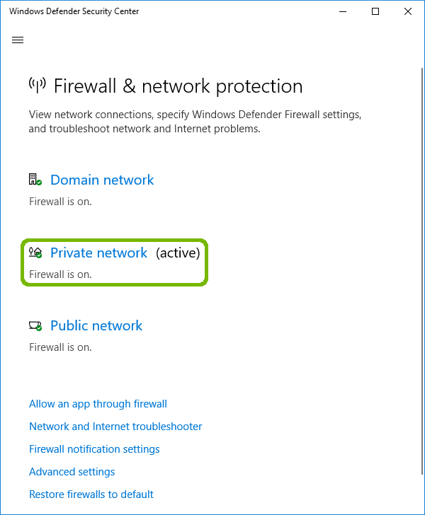 Firewall and network protection with active network highlighted.