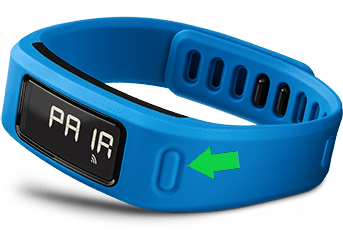 Garmin Vivofit device highlighting its physical button.