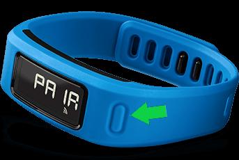 Garmin Vivofit device highlighting the physical button.