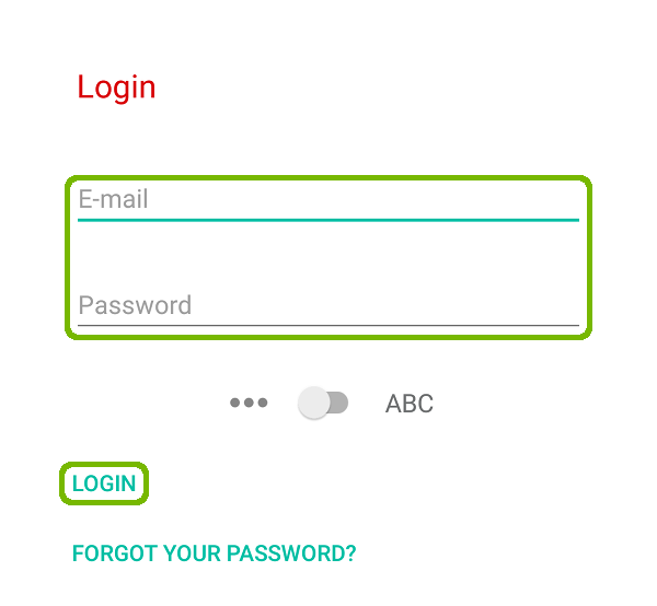 Login screen with Email, Pasword, and Login highlighted.