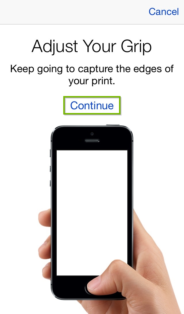 TouchID setup screen with the Continue option highlighted.