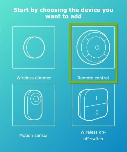 Remote control highlighted on device selection screen of IKEA Home Smart app.