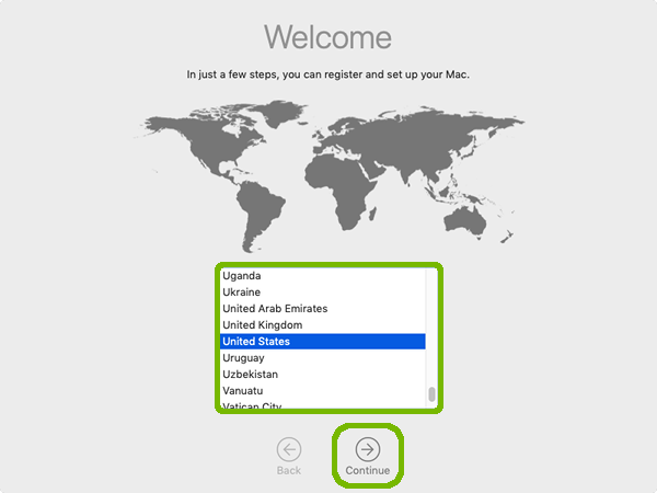 Welcome screen, with country selection and continue highlighted.