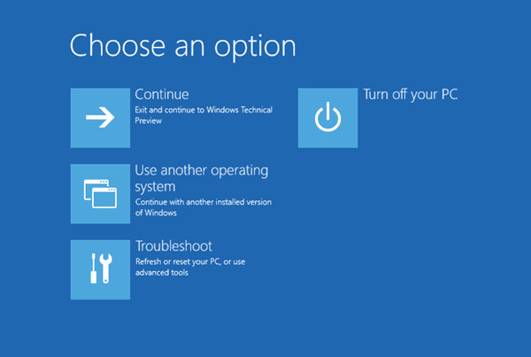 Windows 10 Troubleshooting menu