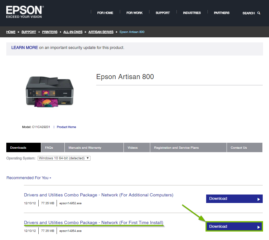Epson website highlighting the download button for first time printer installation.