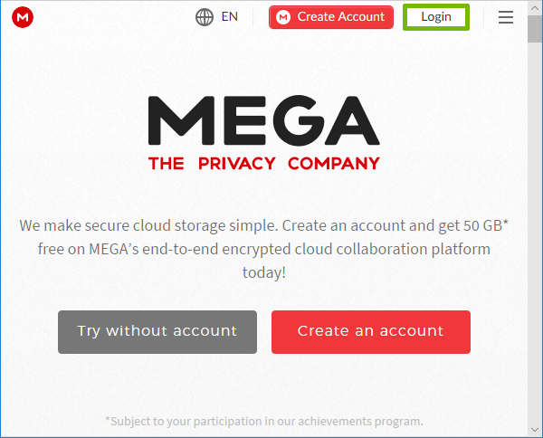 Mega page with Login highlighted.