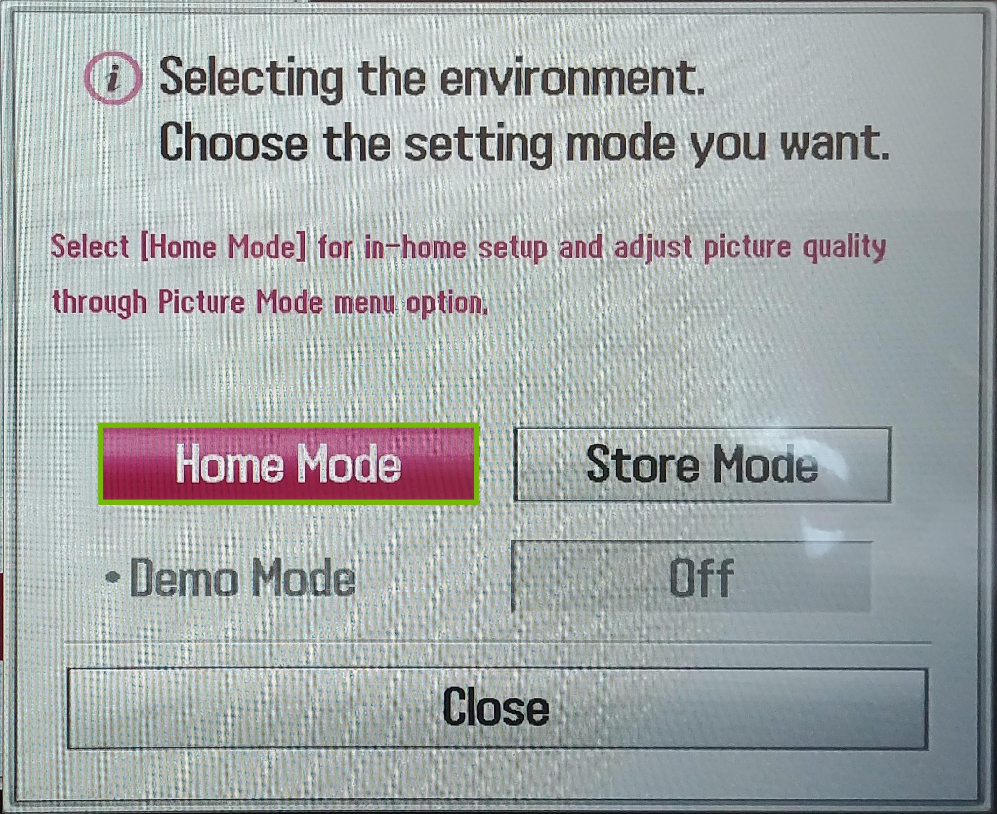 Mode Settings with Home Mode highlighted.