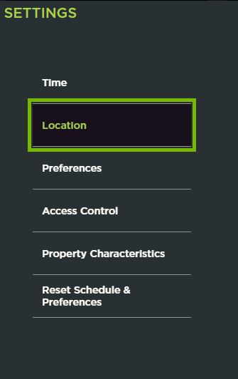 Location option highlighted in ecobee web portal settings.