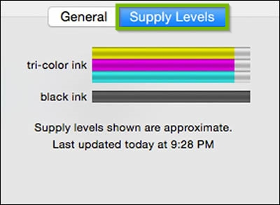 Screenshot of the macOS options and supplies window open for the current printer with the supply levels button highlighted. It displays current ink levels.