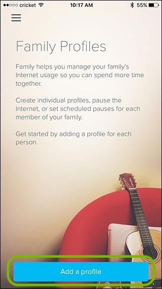 eero app family profiles screen