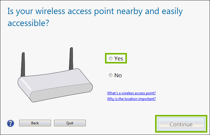wireless router with yes highlighted and continue highlighted
