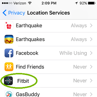iOS Location Services with Fitbit highlighted.