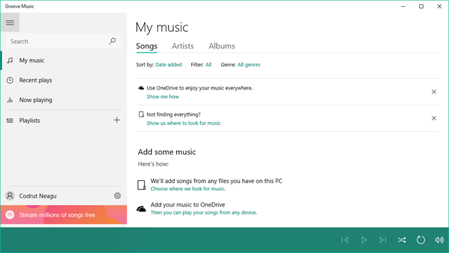 Groove Music application. Screenshot.