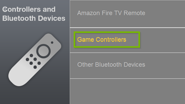 Controllers and Bluetooth Devices menu with Game Controllers selected. Screenshot.