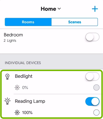 Light bulbs controls highlighted on main screen in C by GE app.