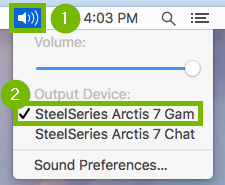 Screenshot of speaker menu selected with output device highlighted.