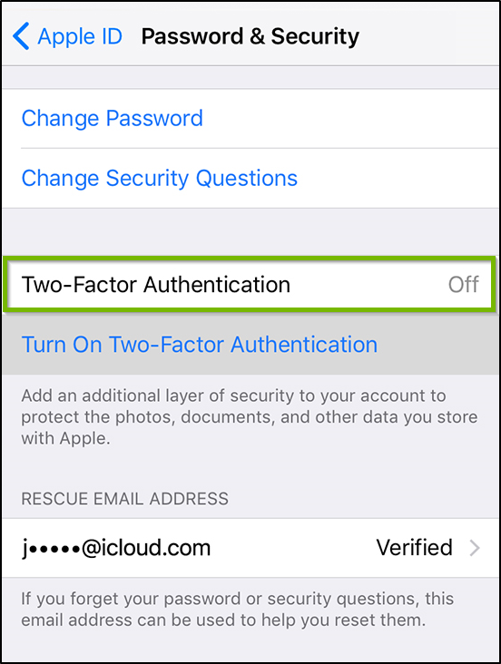 Password and security settings. Two factor authentication highlighted.