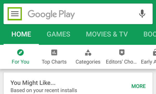 Menu option highlighted in Google Play.