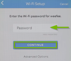 Mobile app Wi-Fi setup key request