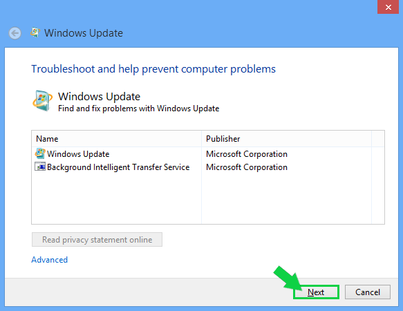 Windows 8.1 update troubleshooter window showing Next highlighted