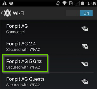 Android network list showing the 5GHz network