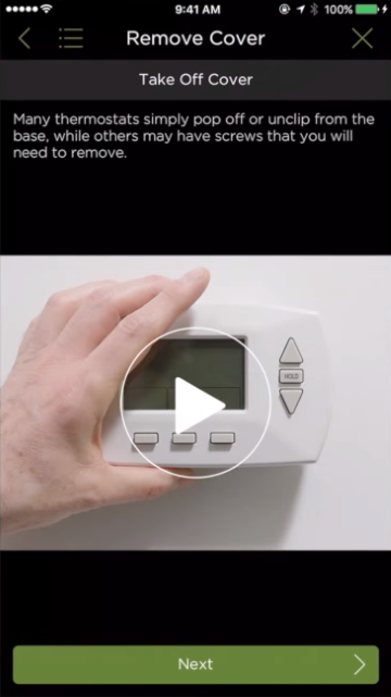 Thermostat installation video tutorials viewable in mobile app