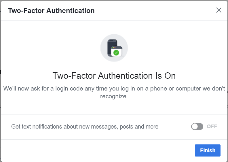 Two-factor authentication confirmation screen