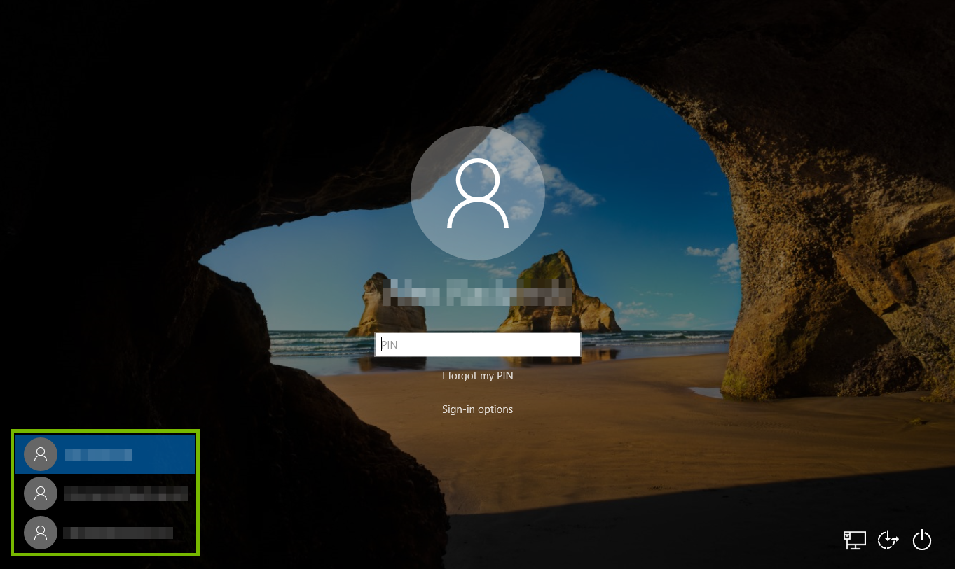 Windows Login Screen with user choices highlighted