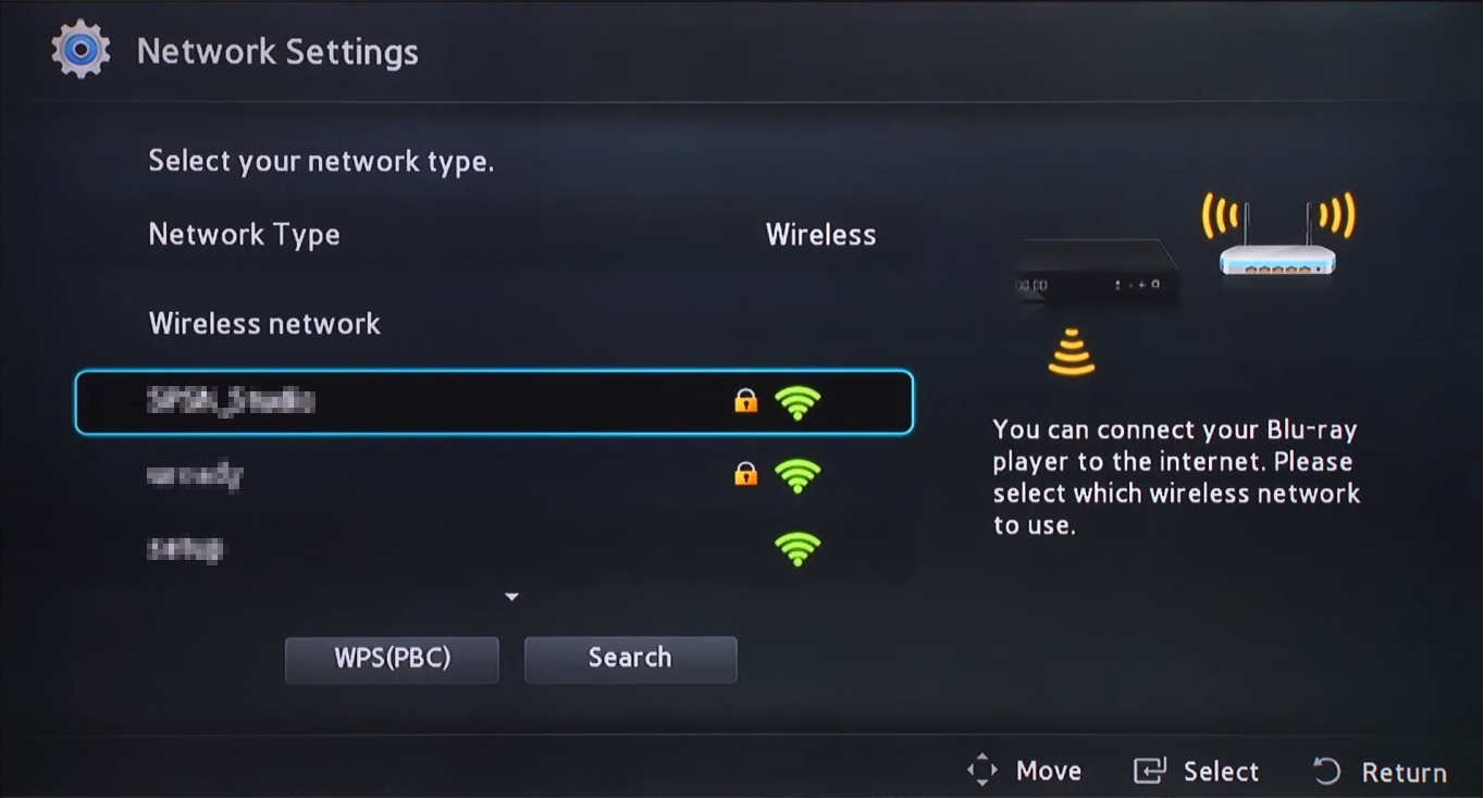 Wireless network selection screen