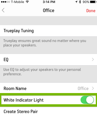 Toggling the white light settings