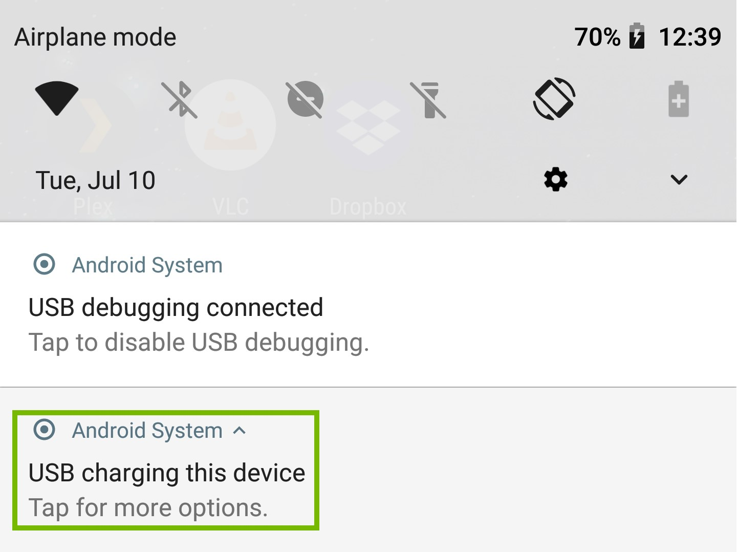 Notifications with USB Mode expanded