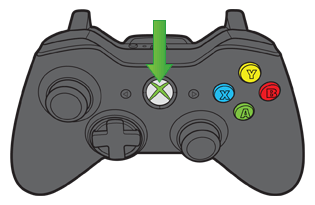 Xbox button pointed out on controller.