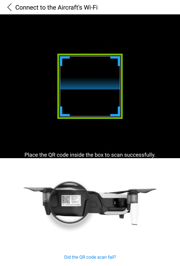 Focus box highlighted in QR scanner.