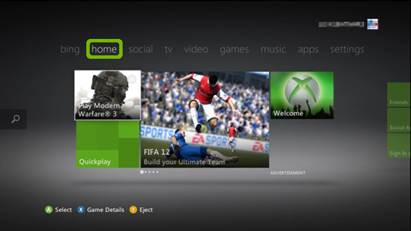 Xbox Menu with Home highlighted.