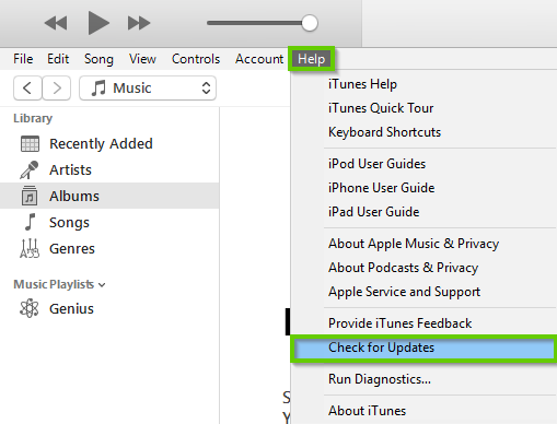 iTunes help menu open showing check for updates