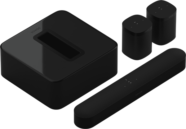 A set of Sonos devices including two One speakers, a soundbar, and a subwoofer
