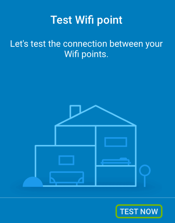Additional Google Wifi point speed test screen with Test Now option highlighted.