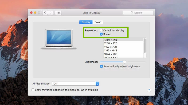 Display preferences with resolution highlighted