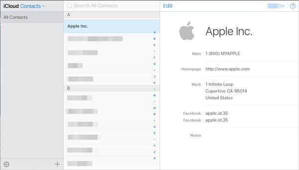 iCloud contact list.