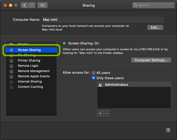 Sharing Preferences with Screen Sharing checked and highlighted.