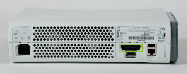 Xbox console with Composite adapter port highlighted